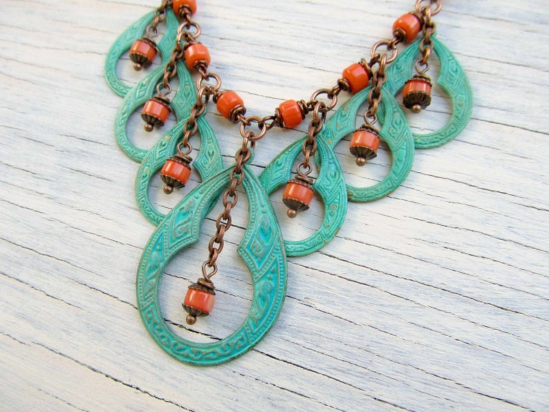 Celtic Necklace Turquoise Statement Necklace Patina Jewelry image 0