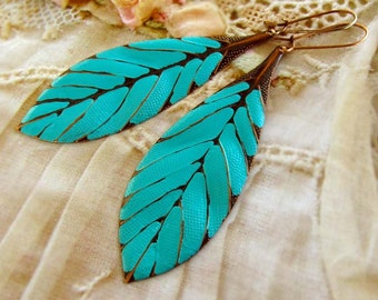 Turquoise earrings boho earrings long earrings leaf earrings beach earrings  Bohemian jewelry