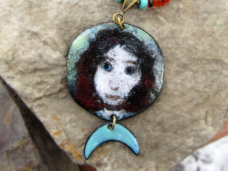 Moon Goddess necklace Amber Necklace Witch Necklace Cancer image 0