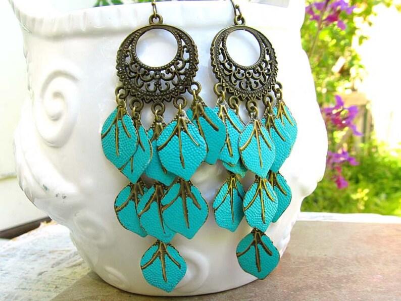 Turquoise earrings Long chandelier earrings Boho earrings image 0