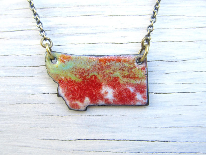 Montana necklace MT enamel jewelry Tomato Red Green image 0