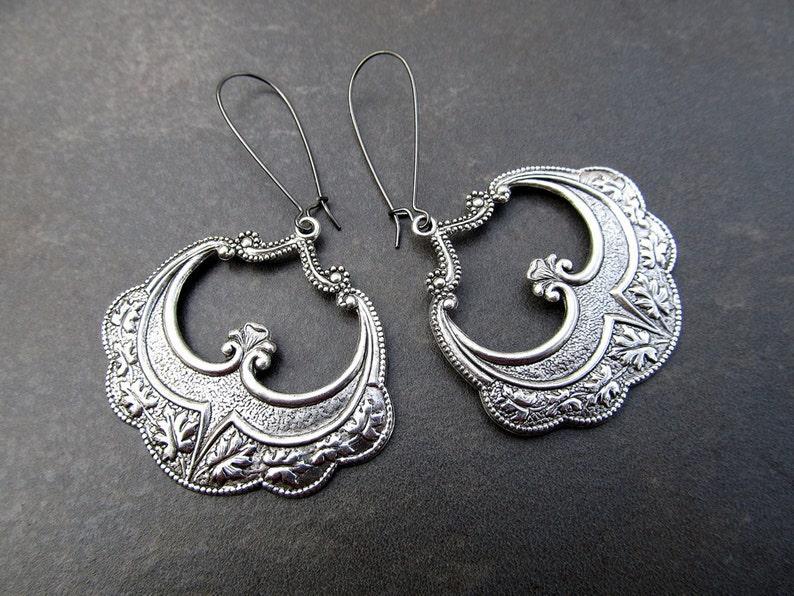 Gypsy Earrings Bohemian Jewelry Silver Bohemian Earrings image 0