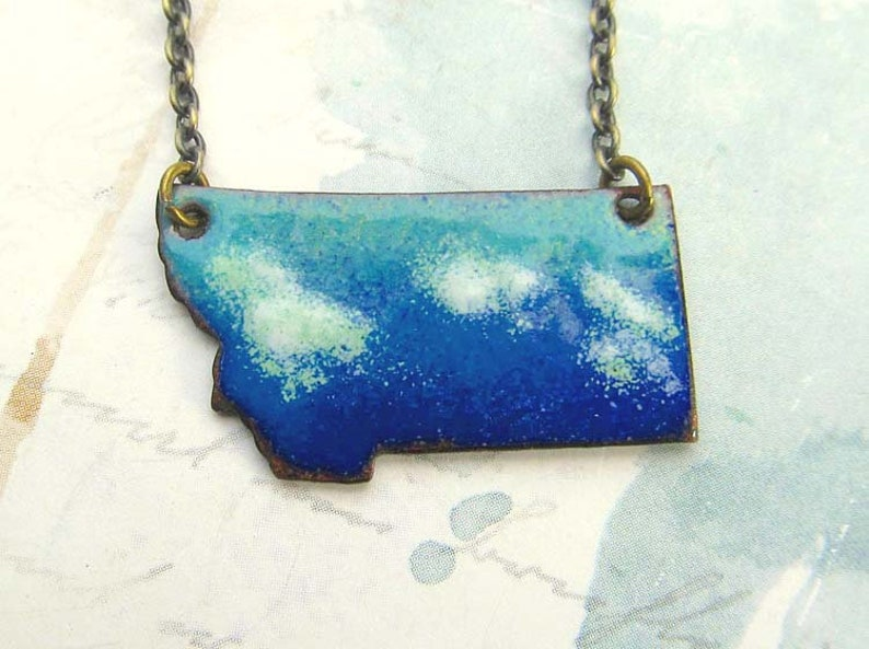 Montana necklace big sky and clouds enamel jewelry image 0