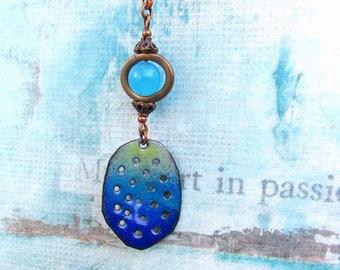 Enamel jewelry Boho necklace Blue pendant long necklace rustic jewelry