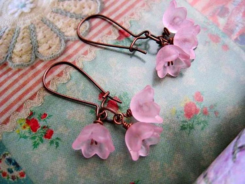 soft Pink Flower earrings Nature jewelry gift for teen image 0