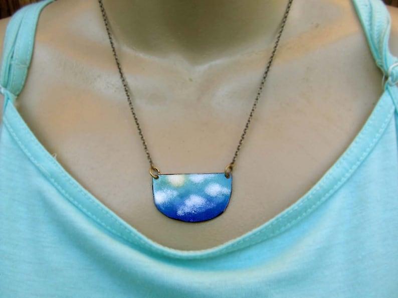 Cloud Necklace Sky pendant necklace Boho necklace Rustic Enamel jewelry
