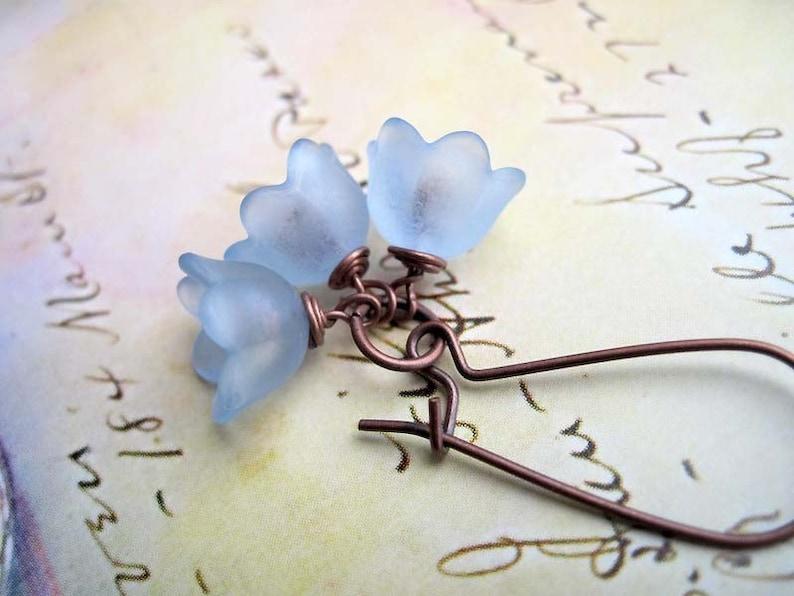 Baby Blue Flower earrings dainty dangle earrings bellflower image 0