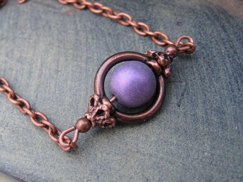 Rustic Purple Copper necklace Copper Jewelry image 0