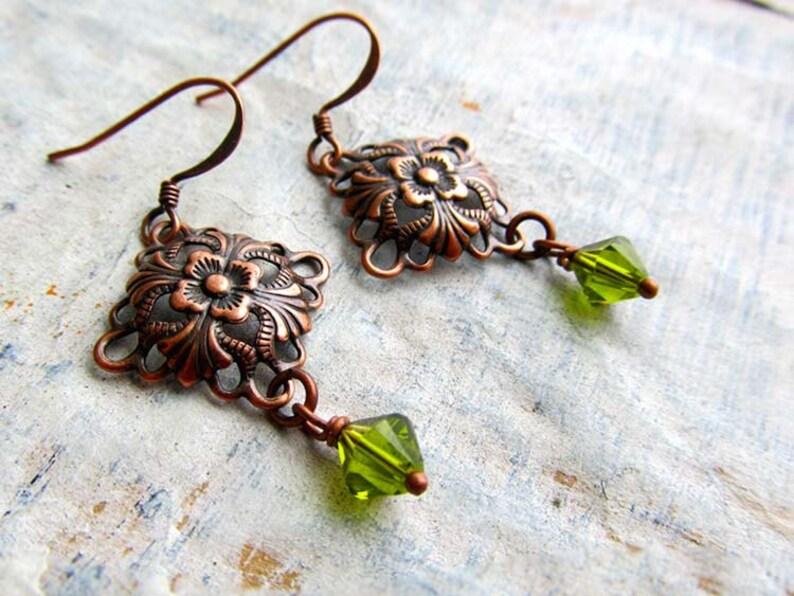 small copper earrings Olive green dangle drop earrings Art image 0
