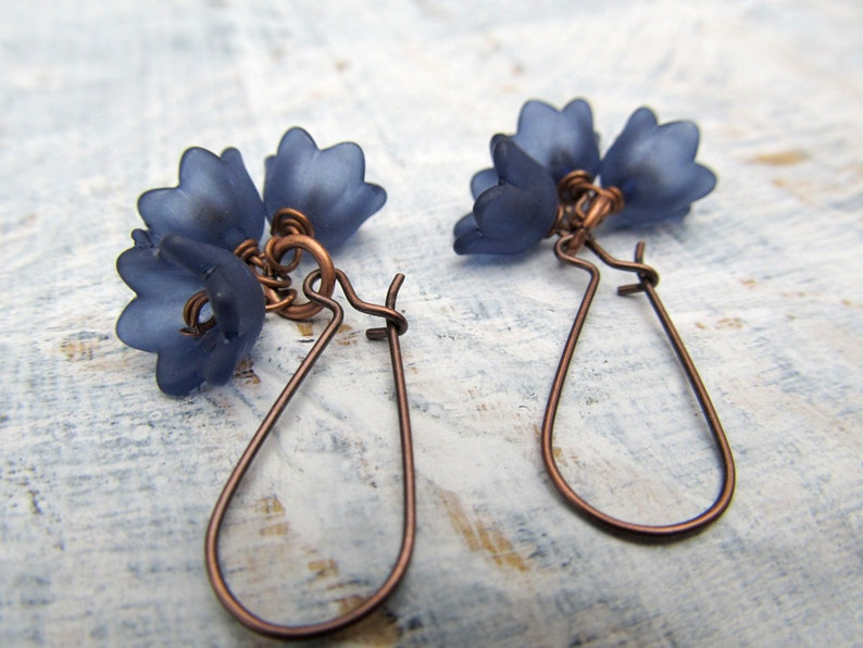 Navy Blue flower earrings  dangle earrings Gift for her image 0