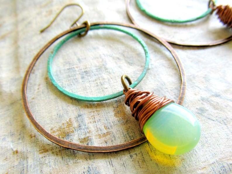 Bohemian Earrings Patina Earrings Mint earrings Boho image 0
