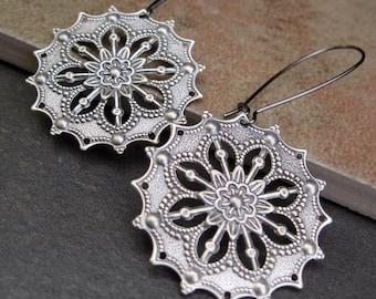 Silver Boho earrings Gypsy earrings filigree dangle earrings round drop earrings - Bohemian jewelry