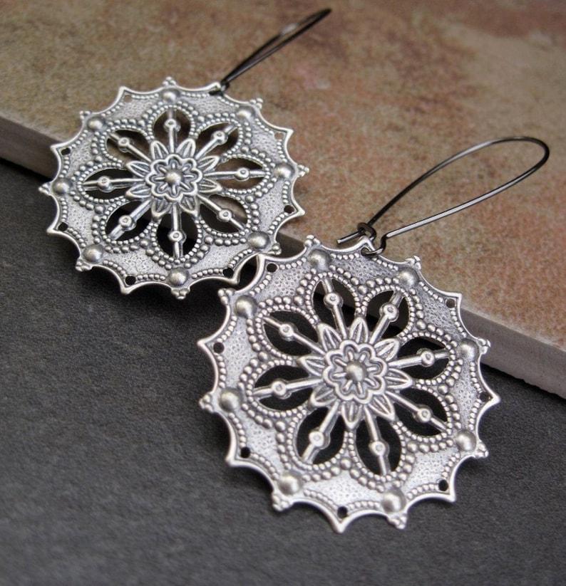 54cbd675743d1 Silver Boho earrings Gypsy earrings filigree dangle earrings round drop  earrings - Bohemian jewelry