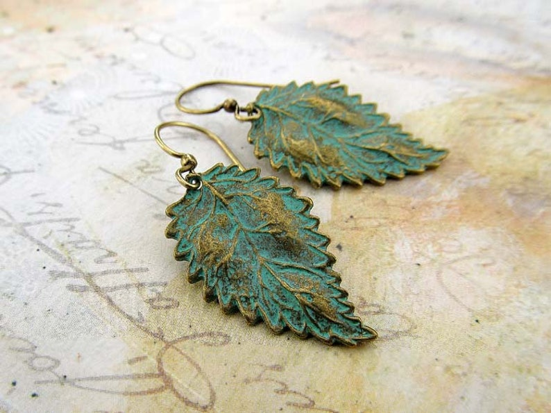Leaf earrings patina jewelry gift for her small rustic image 0