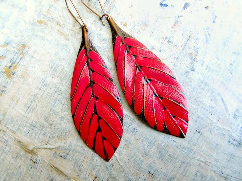 Big Earrings Red Earrings Long Earrings Leaf Earrings Boho image 0