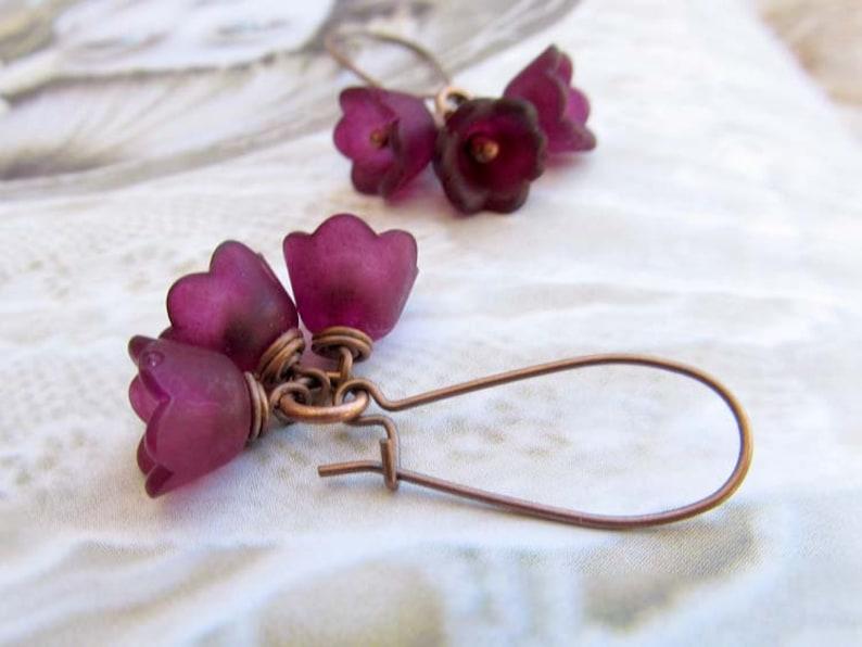 aubergine Flower earrings Nature jewelry eggplant purple image 0
