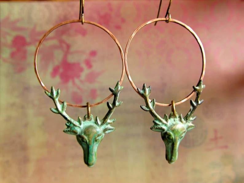 Patina earrings Deer earrings dangle drop earrings Stag image 0