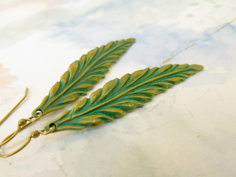 Leaf earrings patina jewelry gift for her long rustic earrings image 0
