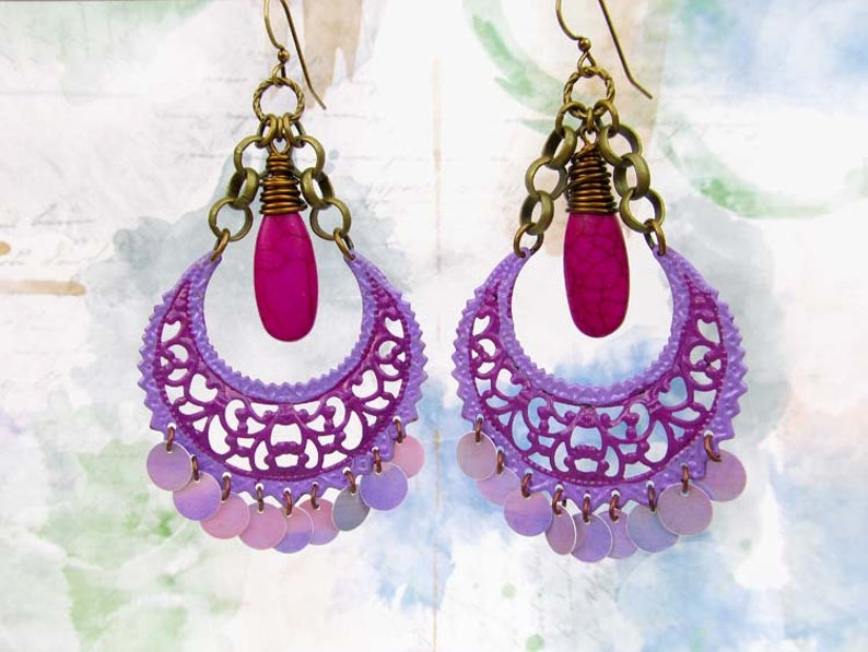 Bohemian jewelry  Big Earrings  Gypsy earrings  Purple image 0