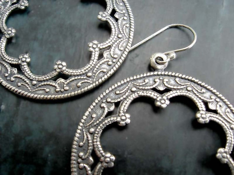 Silver Hoop earrings Moroccan earrings Boho silver Bohemian image 0