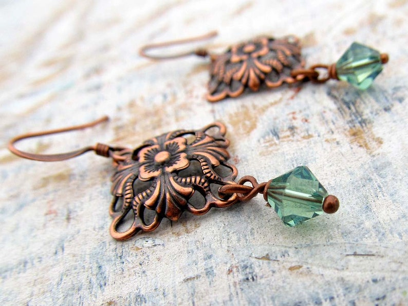 Small Copper Earrings Soft Green Crystals / copper jewelry image 0