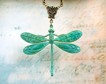 Art Nouveau Jewelry Dragonfly Necklace Patina Dragonfly Pendant Necklace Gift for Gardner Nature Lover