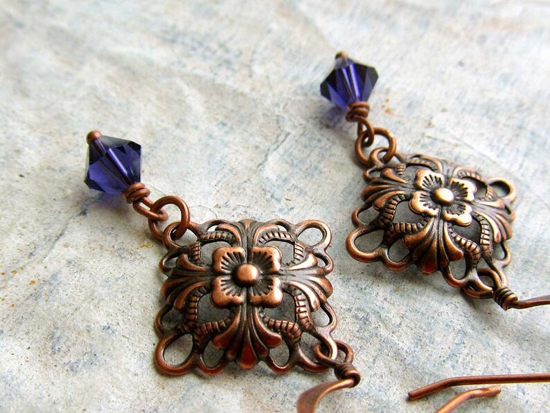 Art Nouveau jewelry / Small Copper Earrings  / gift under 10 image 0