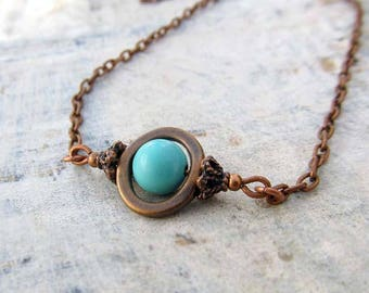 Turquoise necklace Delicate Copper Necklace December Birthstone Southwest Bohemian Jewelry
