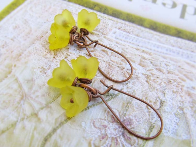 Yellow Flower earrings Nature jewelry dangle drop image 0
