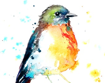 0139eafc00085 SALE Robin painting colorful watercolor bird art print from my original  painting