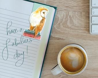Book Owl 2 watercolour magnetic bookmark