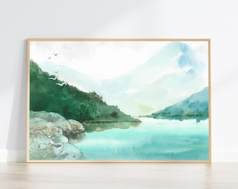 Lake and Mountains watercolour landscape wall art abstract Forest Print