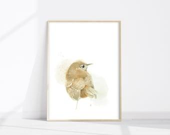 House Wren watercolor bird print