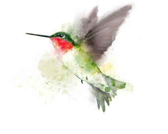 Custom order - PRINTABLE Ruby-throated Hummingbird watercolour painting - small digital download