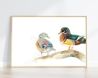 Wood Duck watercolour painting wall decor art print