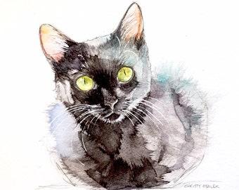 Black Cat Art no.2 watercolor painting MATTE ART PRINT