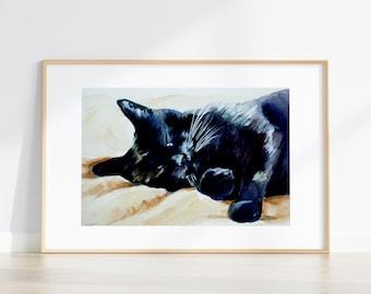 Black Cat Art no.1 painting watercolor sleeping black cat MATTE ART PRINT