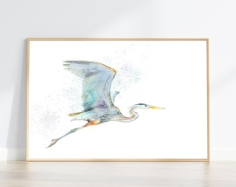 Great Blue Heron Flying print from original watercolor painting