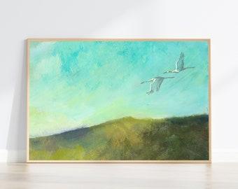 Sandhill Cranes flying landscape painting wall art print