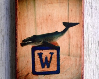 Vintage Toy  W is for Whale Art/Photo - Wall Art 4x6