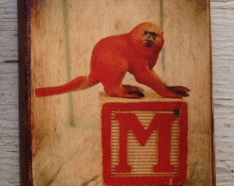 Vintage Toy  M is for Monkey Art/Photo - Wall Art 4x6