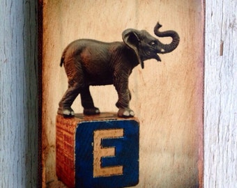 Vintage Toy  E is for Elephant Art/Photo - Wall Art 4x6
