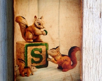Vintage Toy  S is for Squirrel Art/Photo - Wall Art 4x6