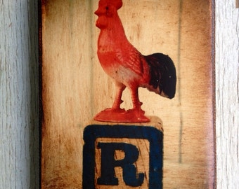 Vintage Toy  R is for Rooster  Art/Photo - Wall Art 4x6