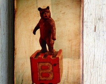Vintage Toy  B is for Bear  Art/Photo/Wall Art - 4x6