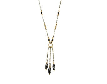 Dahlia EDGY PETAL Necklace Black Onyx and SWAROVSKI Crystal Beaded Fringe Antique and Raw Brass