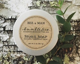 Natural Shave Soap | Travel Size Shave Soap | Wet Shaving Supplies | Trial Size Shaving Soap | Mens Grooming | Vegan Shave Soap | BEE a MAN