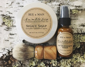 4 Shaving Sets with Shave Brushes Natural Shave Soap   Etsy