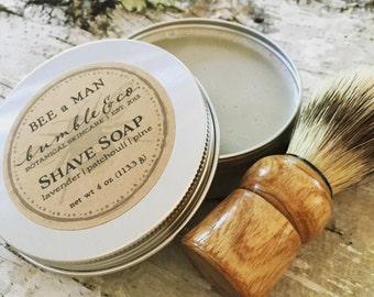 Traditional Shaving Gift | Shave Soap Kit | Herbal Shaving Soap | Shaving Kit | Natural Shave Soap + Shave Brush | Groomsman Gift | Shave
