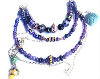 Handmade purple viking apron 3 row necklace for apron dress.
